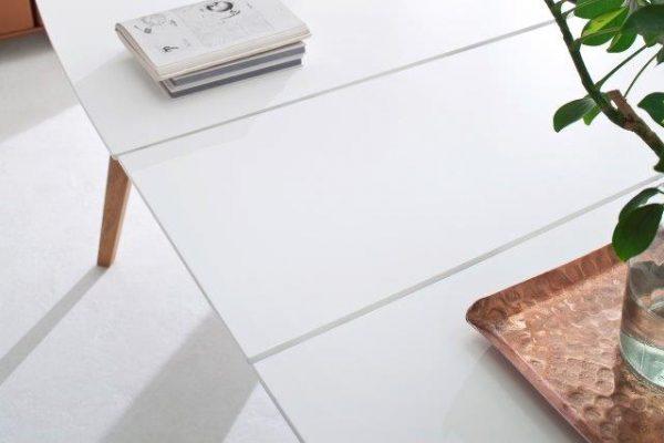 TENZO pikendatav söögilaud 'BESS', 160/205x95cm, valge lauaplaat