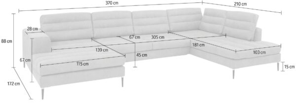 XXL U-kujuline diivanvoodi 'ARIANNA II', pesukastiga, laius 3,7m