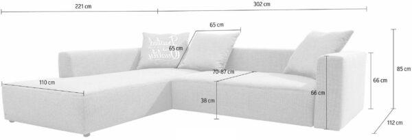 TOM TAILOR nurgadiivan 'HEAVEN CASUAL XL', valikuliselt voodifunktsiooniga